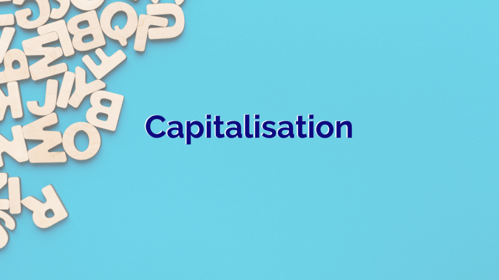 a blue background with capital letters scattered in the top right hand corner
