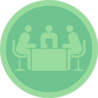Badge showing three people meeting at a desk
