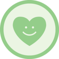 A heart badge with a smiley face