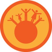 Badge showing lots of people standing with arms outstretched on a small planet