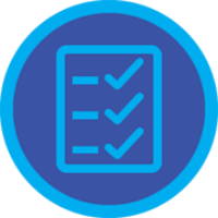 A badge with a checklist with three checks