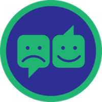A badge showing two chatboxes with a happy and sad face respectively