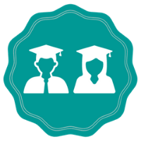 Badge with two people wearing graduation gowns