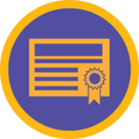 A certificate badge