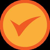 A checkmark badge