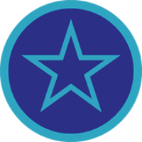 Badge with an outline of a star