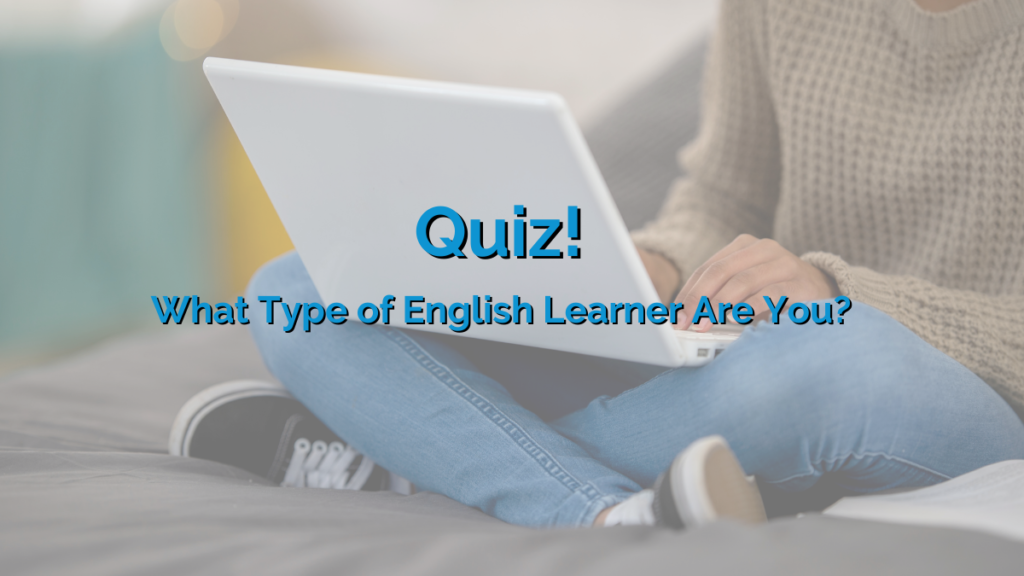 A woman sat cross-legged on a bed using her laptop to complete the 'What Kind of English Learner Are You?' quiz