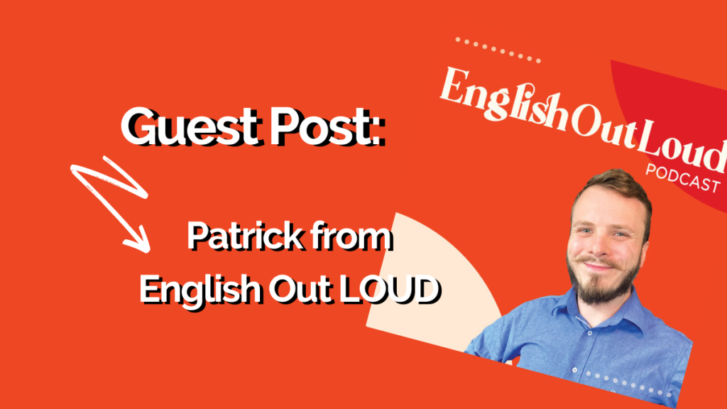 A headshot of Patrick from English Out LOUD with an orange background