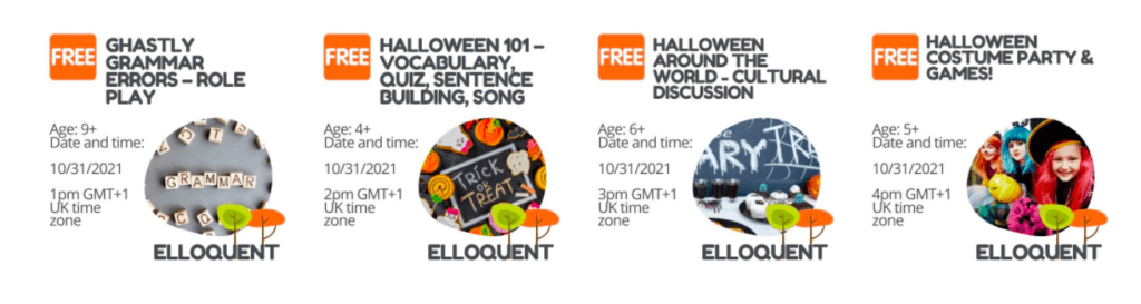 Some of the fun workshops coming up this Halloween!